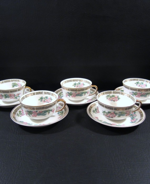 Syracuse China OP Co Indian Tree Pink Smooth Edge Cups & Saucers