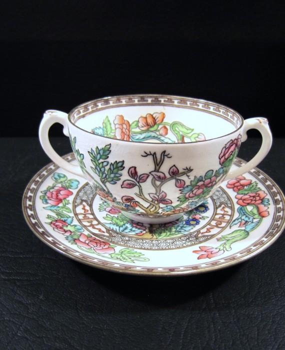 Coalport England Indian Tree Multi Color Bouillon Soup Cup & Saucer