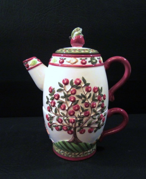Apples Tea for One Bella Casa by Ganz 3 pc Cup & Teapot Set