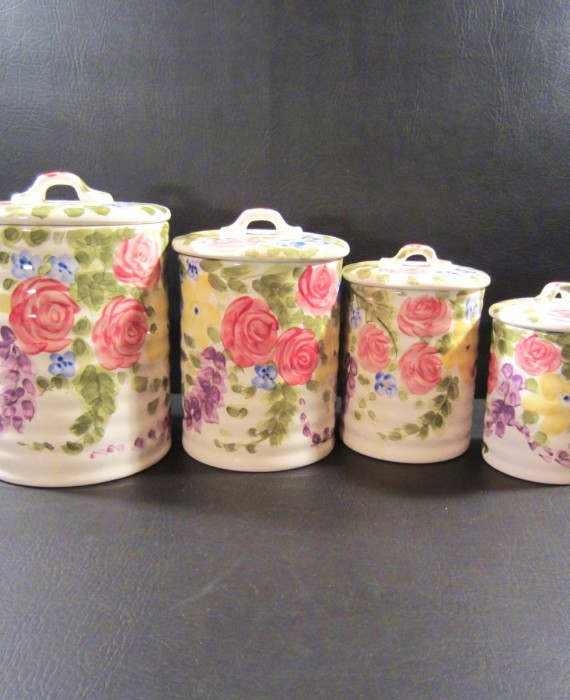 Jardine by Tabletops Unlimited Hand Painted Rose Flower Canister Set