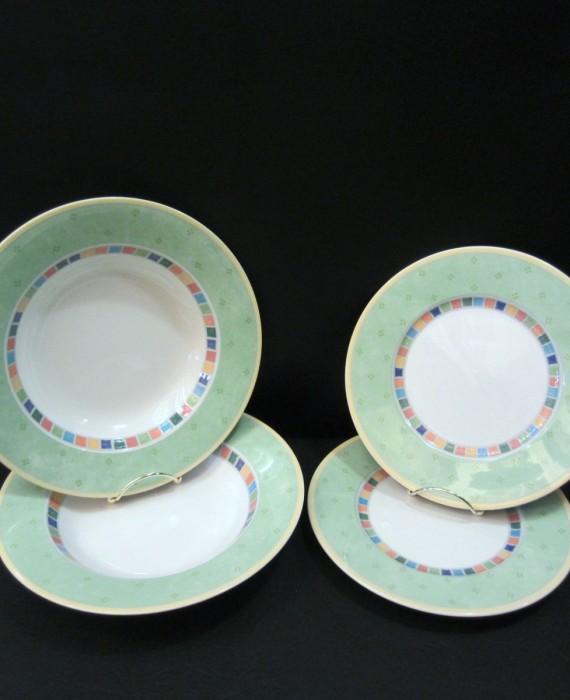 Villeroy & Boch Twist Alea Verde Green 2 Soup Pasta Bowls & 2 Salad Plates
