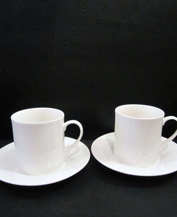 2 Sets Pier 1 New Essentials Classic White Mugs Saucers