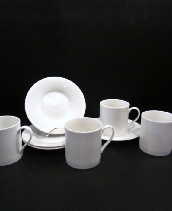 4 Sets Pier 1 New Essentials Classic White Mugs Saucers