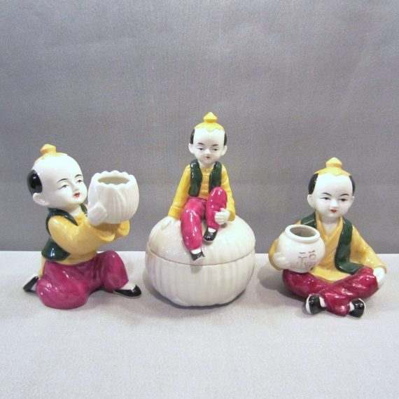 Vtg Mann Japanese Peking East Art Deco Figurines & Trinket Dish