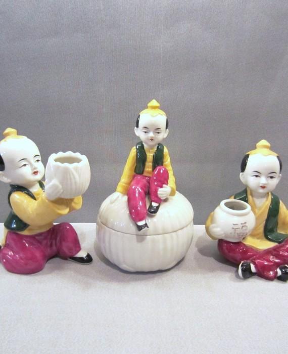Vtg Mann Japanese Peking East Art Deco Figurines & Trinket Dish