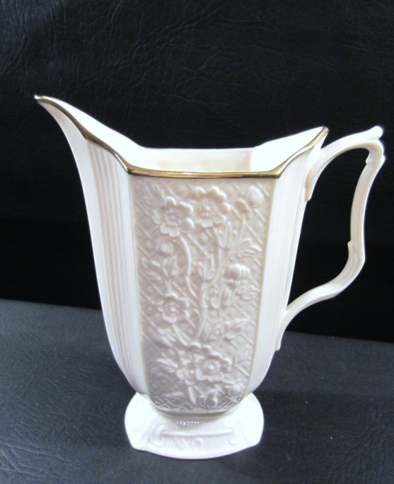 Lenox USA Carolina Floral Embossed 24 k Gold Rim Pitcher