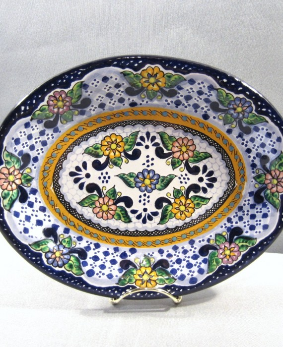 Arte Espinosa Hnos Puebla Mexico Hand Painted Pottery Floral Wall Plate