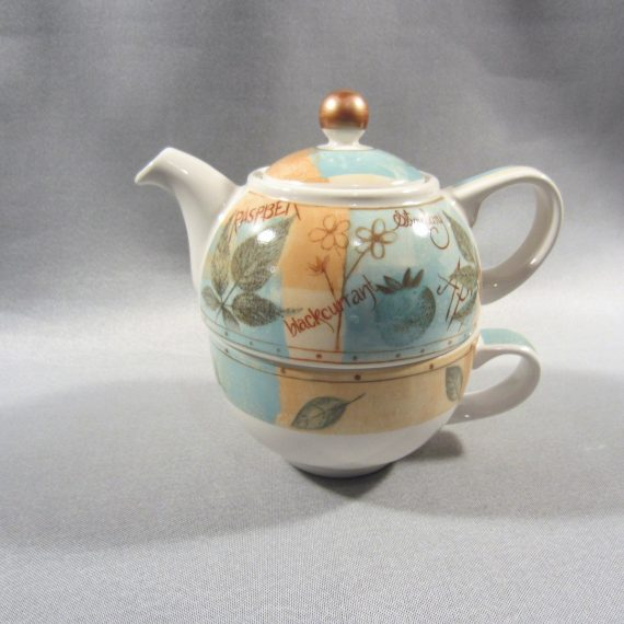 James Sadler England FRUIT 3 pc Cup & Teapot Set