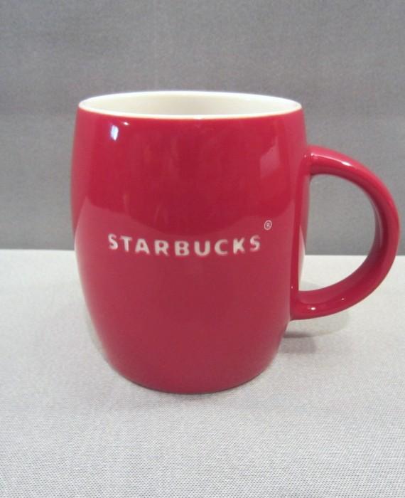 Starbucks 2011 Red Barrel White Etched Mug