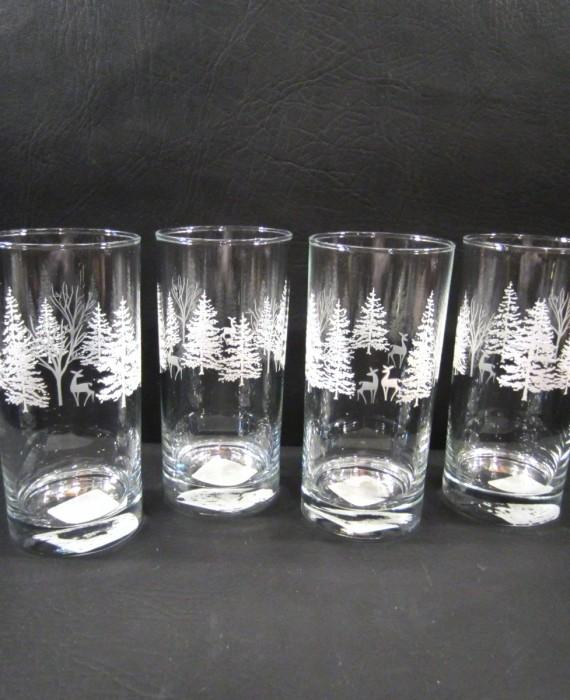 Libbey Christmas White Tree Deer 16 oz Tumbler Glasses