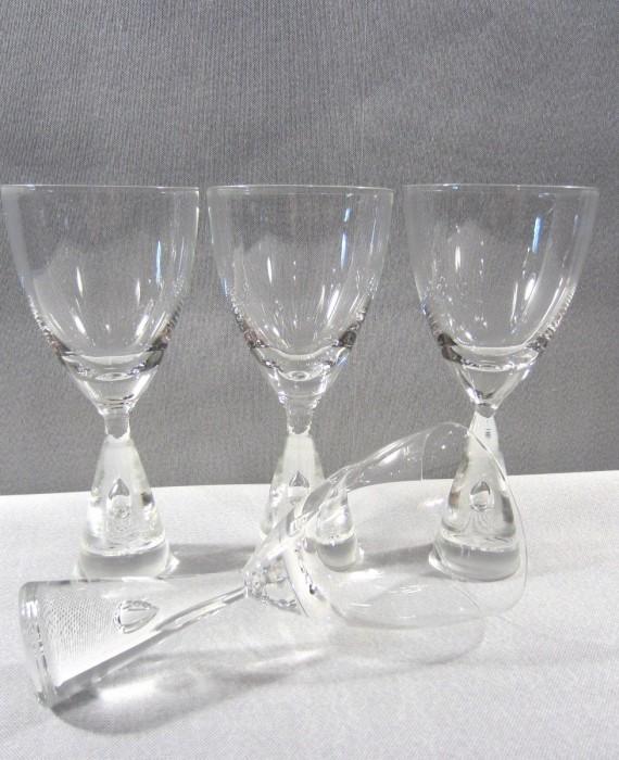 Holmegaard Princess Modern Suspended Bubble Stem 4 White Wine Glasses