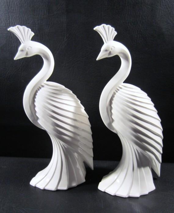 Fitz & Floyd 1985 Tall Ivory Peacocks