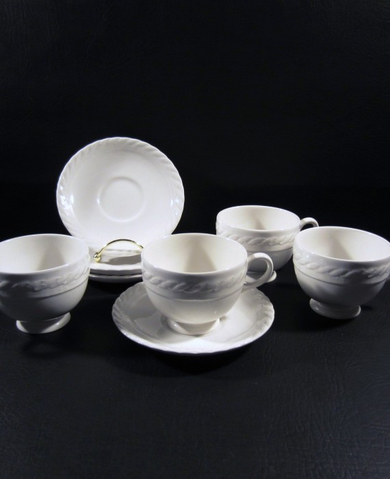 Ralph Lauren Wedgwood Clearwater Embossed Rope Cups & Saucers