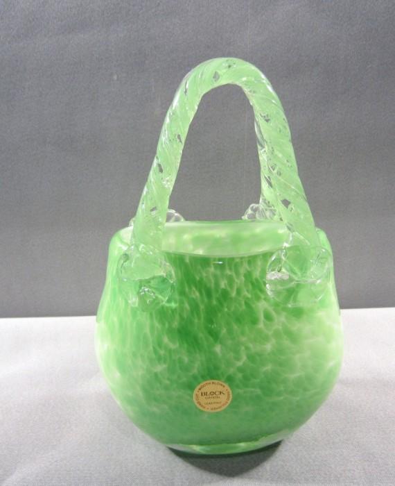 Block Crystal Hand Blown Marilyn Green Speckled Purse Vase