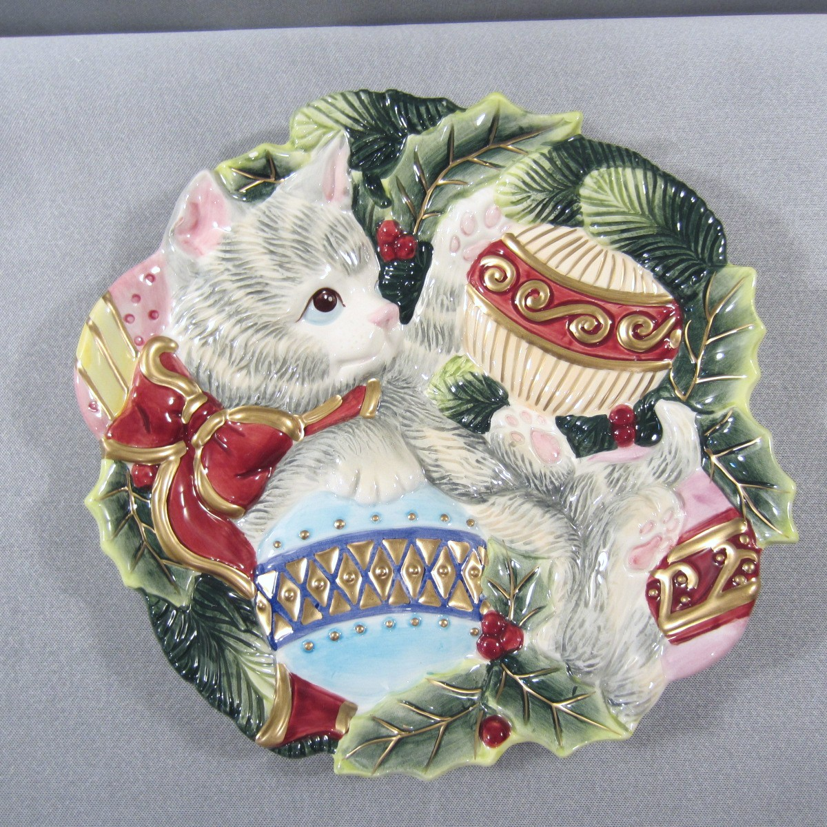 Fitz floyd essentials kristmas kitty christmas cat for Christmas canape plates