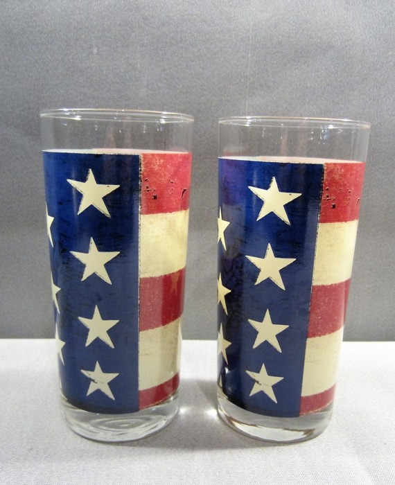 Warren Kimble Colonial Sakura Oneida American Flag Highball Tumbler Glasses