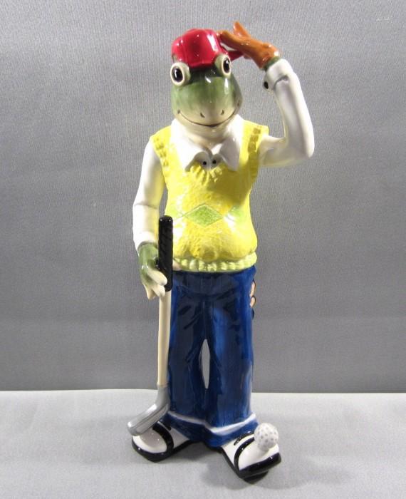 AppleTree Design 14 inch Frog Golfer Ceramic Figurine