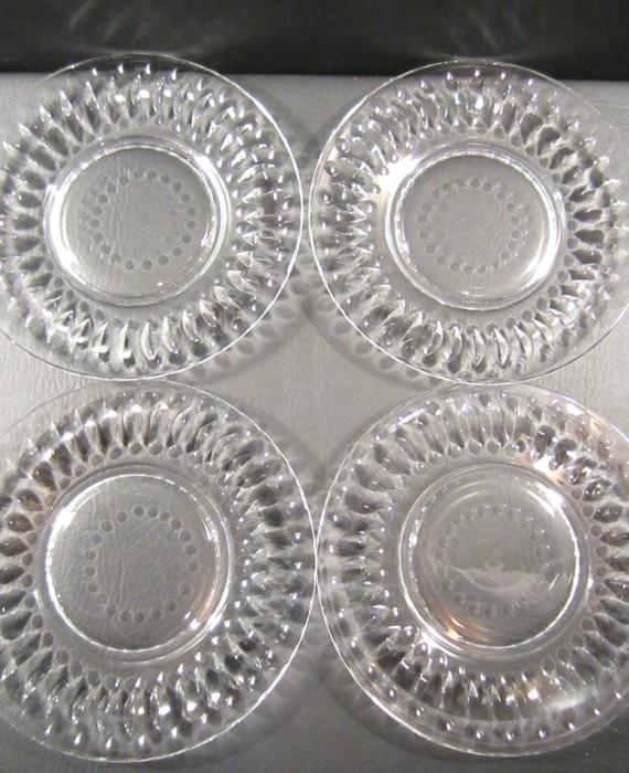Tiffin Franciscan Devon 17440 Clear 8 1/4 Dessert Luncheon Plates (4)
