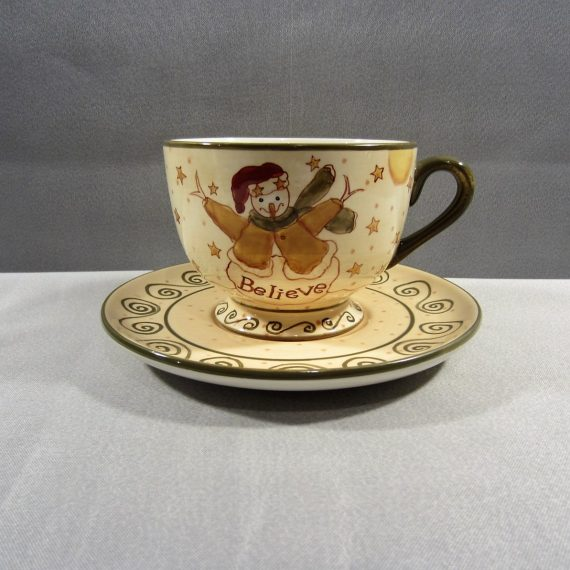 Lang & Wise 2000 Just Believe Snowman Large Footed Cup and Saucer