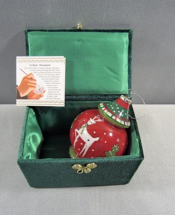 Li Bien Hand Painted Glass Christmas Tree Reindeer 2012 Ornament