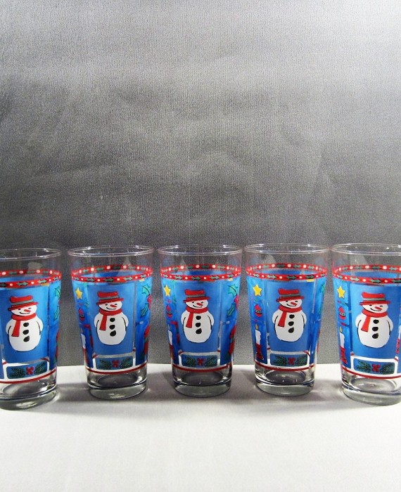 Libbey Christmas Blue Red Snowman Holiday 16 oz Tumbler Glasses