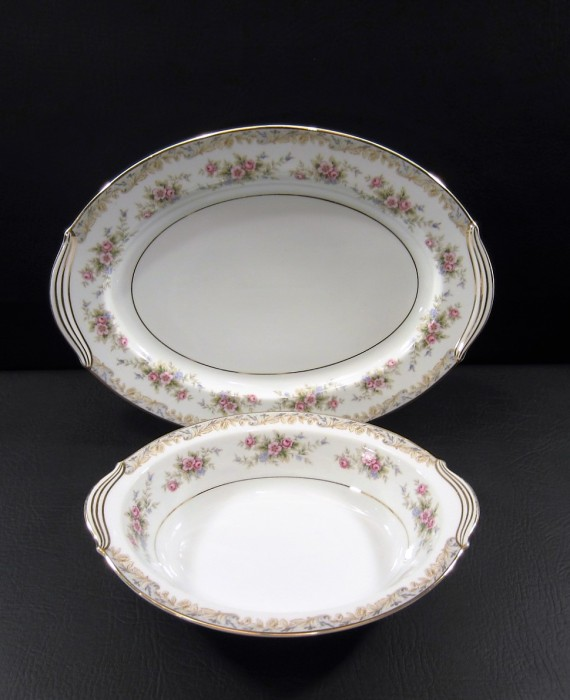 Noritake Somerset 5317 Pink Flowers Serving Bowl and Platter