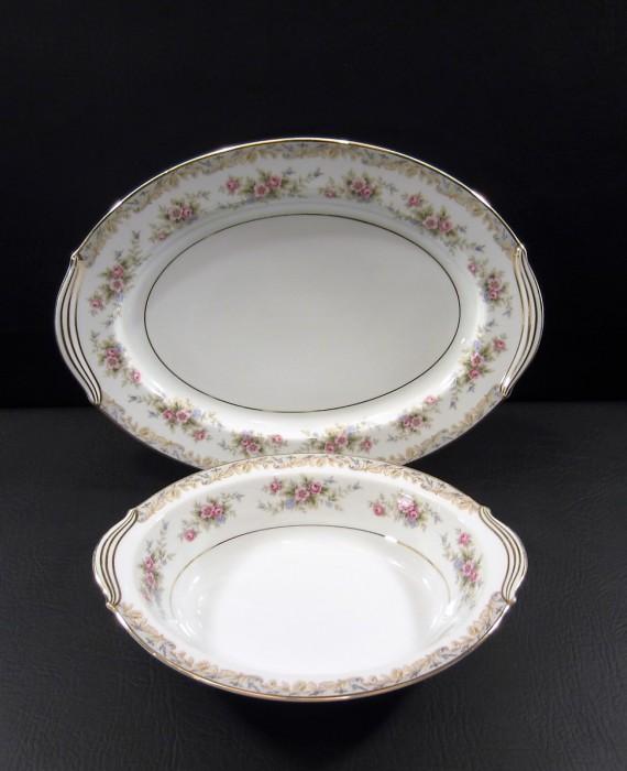Noritake Somerset 5317 Pink Flowers Serving Bowl and Platter