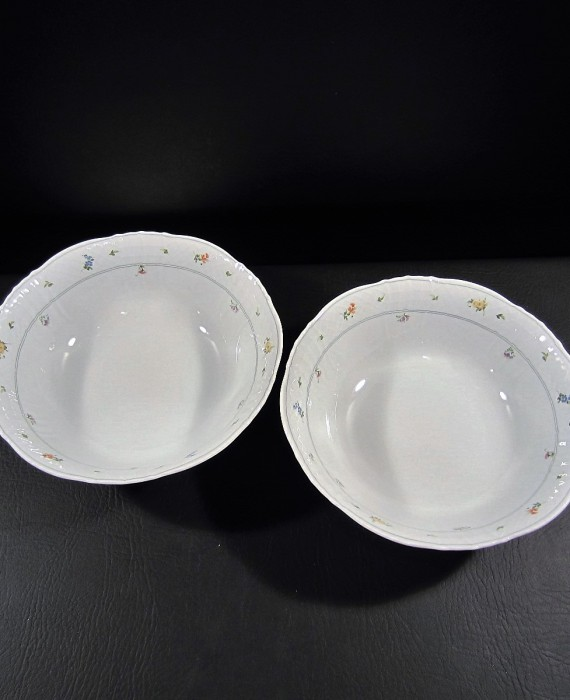 Seltmann Weiden Bayreuth Flowers Gray Band Serving Bowls