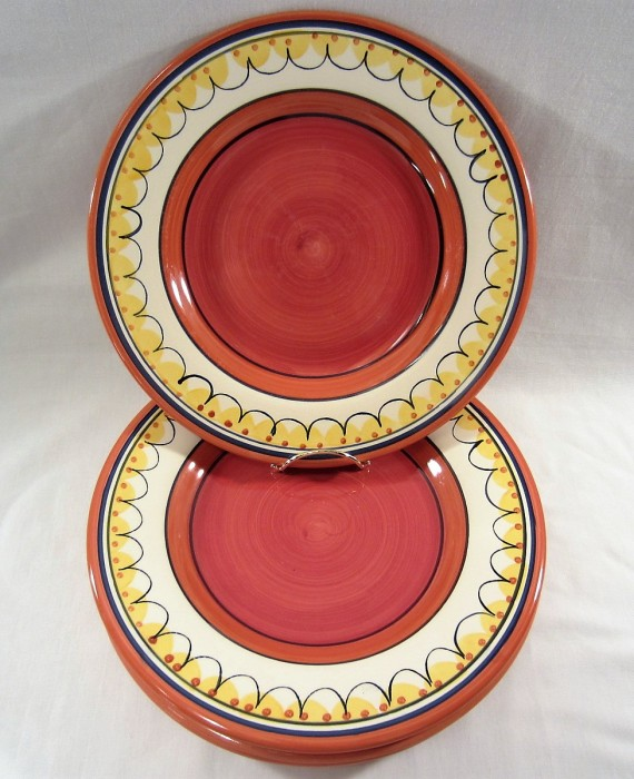 Pier 1 Del Sol Earthenware Red Center Dinner Plates