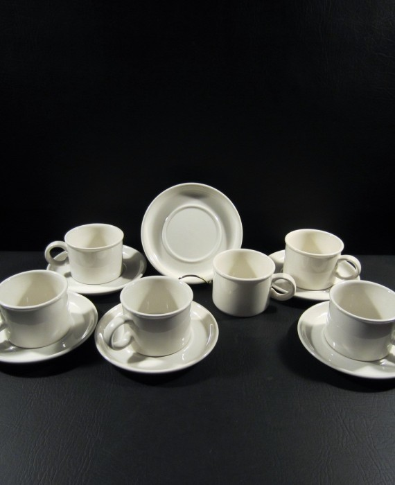 Midwinter Stonehenge Wedgwood White Cups & Saucers