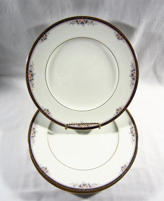 Noritake Ontario 3763 Blue Gold Band Pink Flowers Dinner Plates