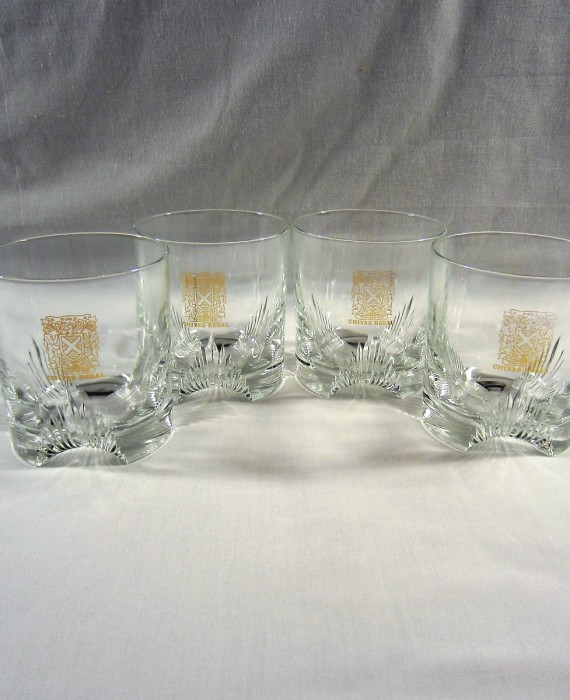 Chivas Regal Gold Shield Rock Lowball Glasses