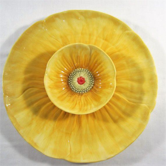 Maxcera Poppy Yellow Chip & Dip Serving Platter