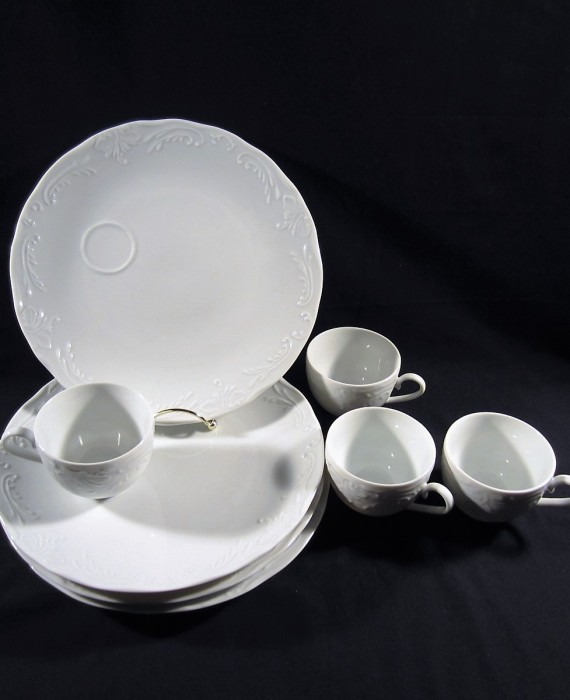 10 Strawberry Street Monno Bangladesh White Embossed Luncheon Dinner Sets Cups Plates