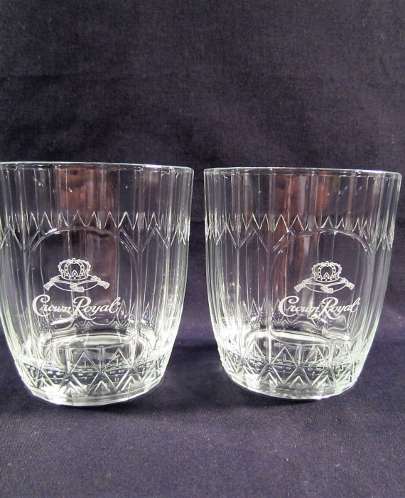 Etched Crown Royal Italy VonPok Lowball Rocks Glasses