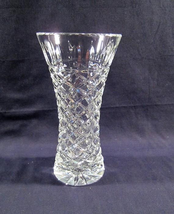 Heavy Crystal Diamond Cut Glass Vase