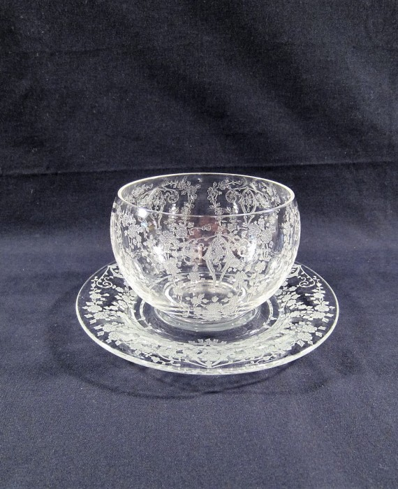 Cambridge Diane Floral Etched Mayonnaise Bowl & Underplate