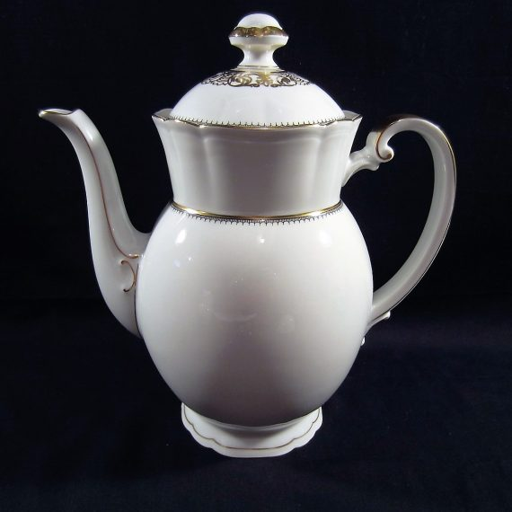 Arzberg Europa White Gold Black Scalloped Coffee Pot