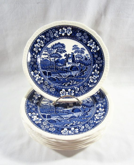 Copeland Spode Tower England NEW Mark Blue Salad Plates