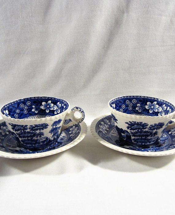 Copeland Spode Tower England OLD Mark Blue Cups & Saucer Sets