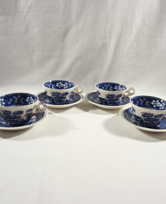 Copeland Spode Tower England OLD Mark Blue 4 Cups & Saucer Sets