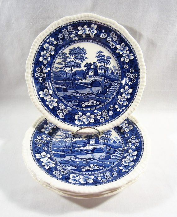 Copeland Spode Tower England OLD Mark Blue 4 Luncheon Plates