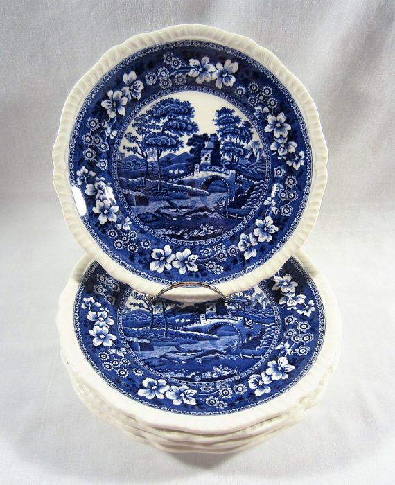 Copeland Spode Tower England OLD Mark Blue Salad Plates