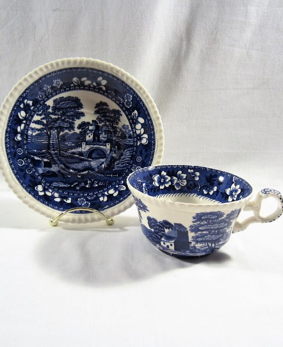 Copeland Spode Tower England OLD Mark Blue Oversized Cup & Saucer Set
