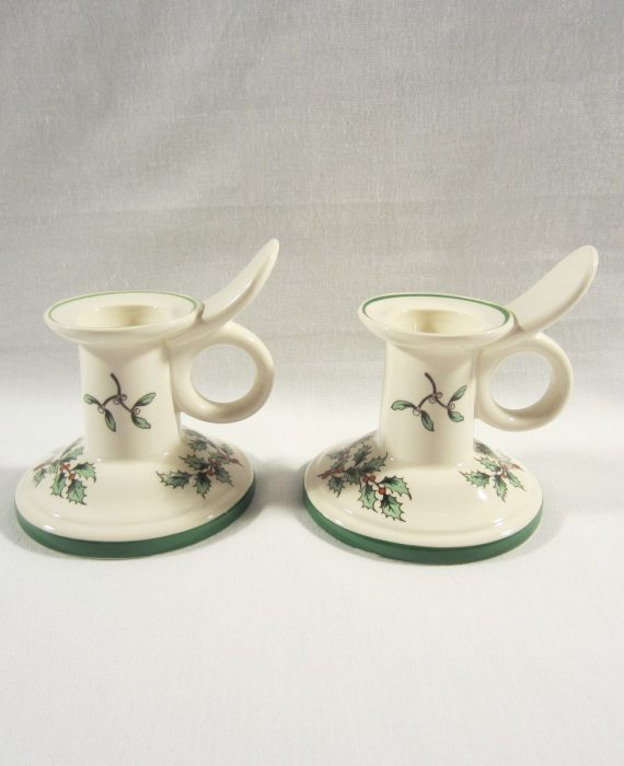 Spode Christmas Tree Holly Berries Green Trim 53324 D Candle Holders