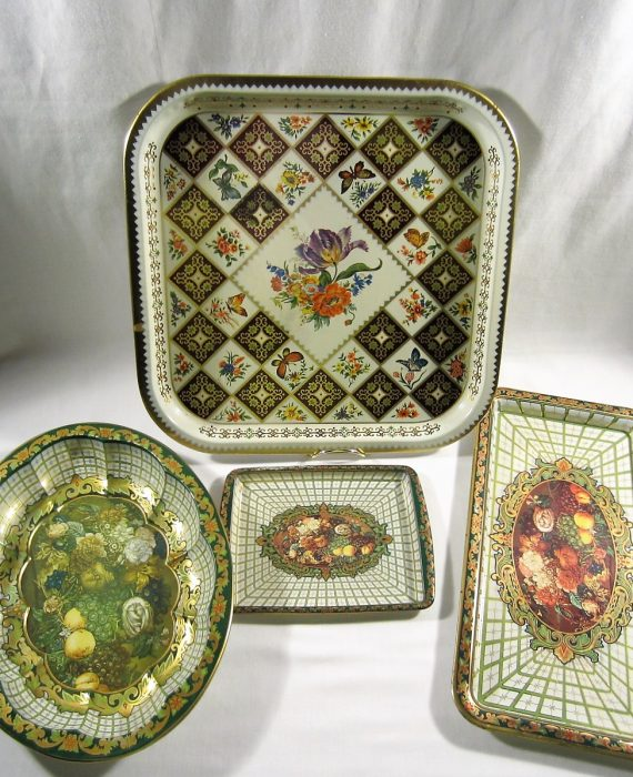 Floral Fruit Daher Decorated Ware England Tin Metalware Oval Bowl Trays