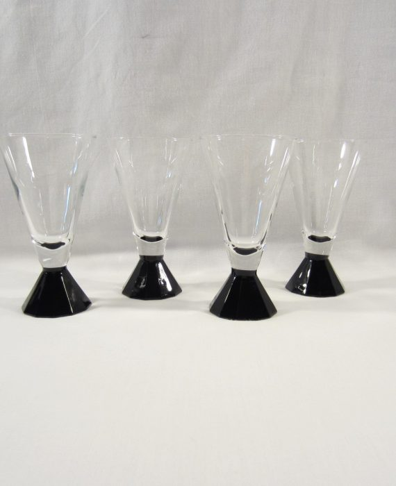 Cristal D' Arques Luminarc France Black Multisided Stem Tapered Wine Glasses
