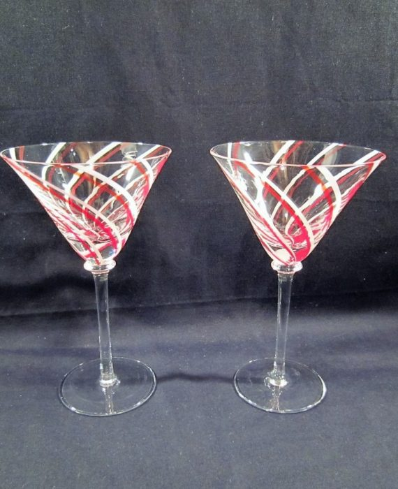 Red White Berry Wine Swirl Striped Martini Glasses