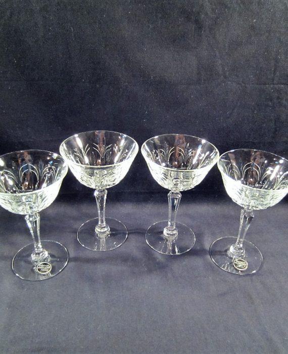 Tiffin Franciscan Chardonnay 17683 Crystal Champagne Sherbet Glasses