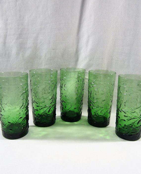 Libbey Garden Vine Citrus Green Embossed Tumbler Tea Glasses